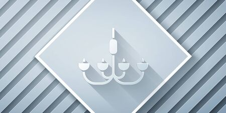 Paper cut Chandelier icon isolated on grey background. Paper art style. Vector Illustration Stock Illustratie