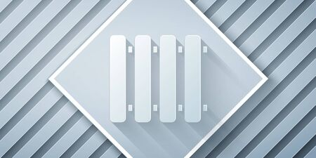 Paper cut Heating radiator icon isolated on grey background. Paper art style. Vector Illustration
