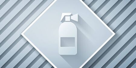 Paper cut Fire extinguisher icon isolated on grey background. Paper art style. Vector Illustration Иллюстрация