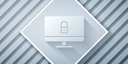 Paper cut Lock on computer monitor screen icon isolated on grey background. Security, safety, protection concept. Safe internetwork. Paper art style. Vector Illustration Ilustrace