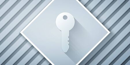 Paper cut Key icon isolated on grey background. Paper art style. Vector Illustration
