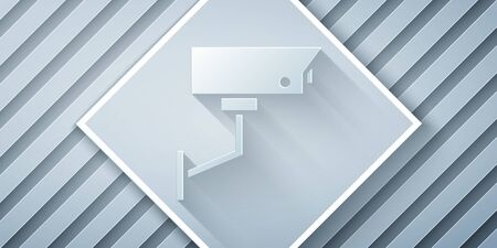 Paper cut Security camera icon isolated on grey background. Paper art style. Vector Illustration
