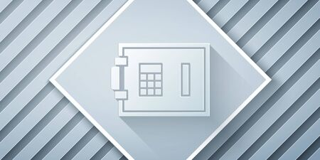 Paper cut Safe icon isolated on grey background. The door safe a bank vault with a combination lock. Reliable Data Protection. Paper art style. Vector Illustration Vettoriali