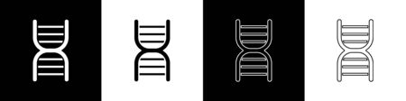 Set DNA symbol icon isolated on black and white background.  Vector Illustration