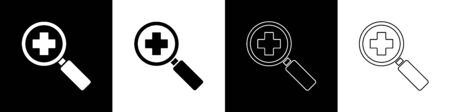 Set Magnifying glass for search medical icon isolated on black and white background. Hospital search. Vector Illustration