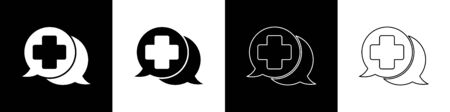Set Dialogue with the doctor icon isolated on black and white background. Doctor and patient dialog. Consulting about medical health services. Vector Illustration