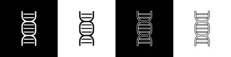 Set DNA symbol icon isolated on black and white background. Vector Illustration Stock Illustratie