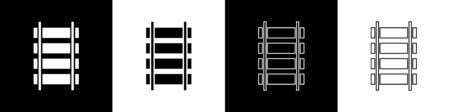 Set Railway, railroad track icon isolated on black and white background. Vector Illustration Ilustração