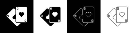 Set Playing cards icon isolated on black and white background. Casino gambling. Vector Illustration
