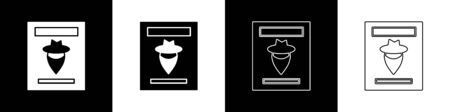 Set Wanted western poster icon isolated on black and white background. Reward money. Dead or alive crime outlaw. Vector Illustration 向量圖像