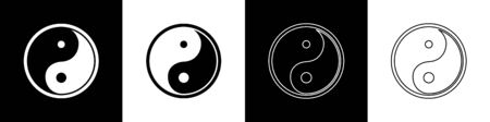 Set Yin Yang symbol of harmony and balance icon isolated on black and white background. Vector Illustration