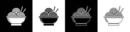 Set Asian noodles in bowl and chopsticks icon isolated on black and white background. Street fast food. Korean, Japanese, Chinese food. Vector Illustration