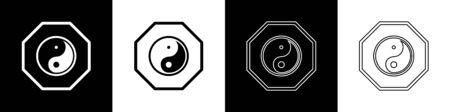 Set Yin Yang symbol of harmony and balance icon isolated on black and white background. Vector Illustration