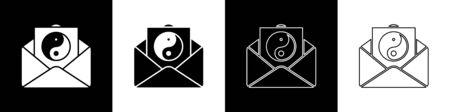 Set Yin Yang and envelope icon isolated on black and white background. Symbol of harmony and balance. Vector Illustration