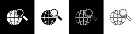 Set Magnifying glass with globe icon isolated on black and white background. Analyzing the world. Global search sign. Vector Illustration