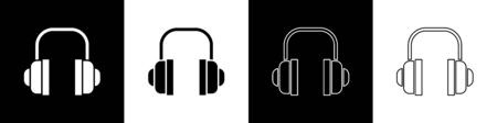 Set Headphones icon isolated on black and white background. Support customer service, hotline, call center, faq, maintenance. Vector Illustration