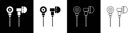 Set Air headphones icon icon isolated on black and white background. Holder wireless in case earphones garniture electronic gadget. Vector Illustration