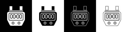 Set Stopwatch icon isolated on black and white background. Time timer sign. Chronometer sign. Vector Illustration