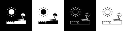 Set Beach with umbrella and chair icon isolated on black and white background. Tropical beach landscape. Good sunny day.  Vector Illustration