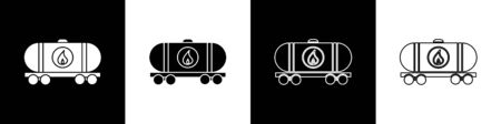 Set Oil railway cistern icon isolated on black and white background. Train oil tank on railway car. Rail freight. Oil industry.  Vector Illustration