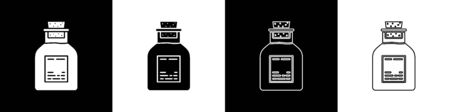 Set Oil petrol test tube icon isolated on black and white background.  Vector Illustration