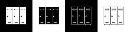 Set Locker or changing room for hockey, football, basketball team or workers icon isolated on black and white background. Vector Illustration