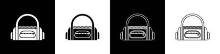 Set Sport bag icon isolated on black and white background. Vector Illustration Stock Illustratie