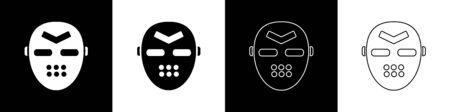 Set Hockey mask icon isolated on black and white background. Vector Illustration