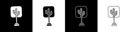 Set Tree icon isolated on black and white background. Forest symbol. Vector Illustration