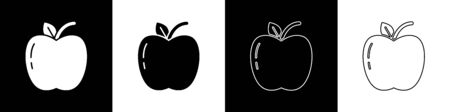 Set Apple icon isolated on black and white background. Fruit with leaf symbol. Vector Illustration