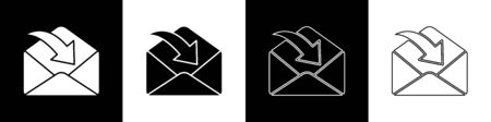 Set Envelope icon isolated on black and white background. Received message concept. New, email incoming message, sms. Mail delivery service. Vector Illustration