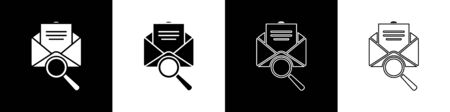 Set Envelope mail with magnifying glass icon isolated on black and white background. Vector Illustration