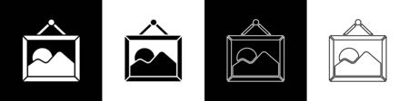 Set Picture landscape icon isolated on black and white background. Vector Illustration