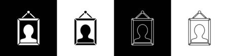 Set Picture icon isolated on black and white background. Vector Illustration Ilustrace