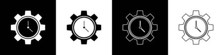 Set Time Management icon isolated on black and white background. Clock and gear sign. Productivity symbol. Vector Illustration Illusztráció