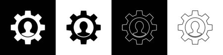 Set Human with gear inside icon isolated on black and white background. Artificial intelligence. Thinking brain sign. Symbol work of brain. Vector Illustration