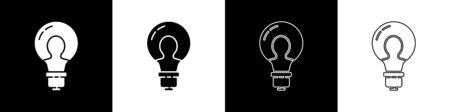 Set Light bulb with concept of idea icon isolated on black and white background. Energy and idea symbol. Inspiration concept. Vector Illustration Stock Illustratie