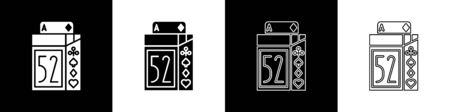 Set Deck of playing cards icon isolated on black and white background. Casino gambling. Vector Illustration