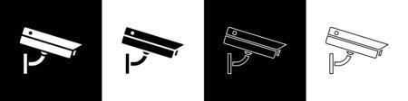 Set Security camera icon isolated on black and white background. Vector Illustration Illustration