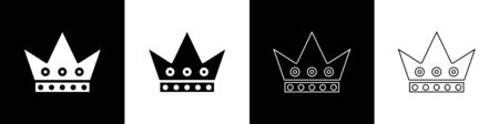 Set King playing card icon isolated on black and white background. Casino gambling. Vector Illustration Ilustrace