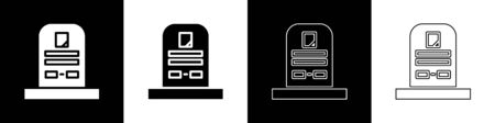 Set Tombstone with RIP written on it icon isolated on black and white background. Grave icon. Vector Illustration Иллюстрация