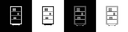 Set Library bookshelf icon isolated on black and white background. Vector Illustration