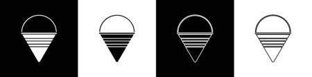 Set Fire cone bucket icon isolated on black and white background. Metal cone bucket empty or with water for fire fighting. Vector Illustration Иллюстрация