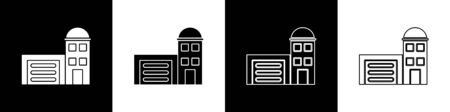 Set Building of fire station icon isolated on black and white background. Fire department building. Vector Illustration