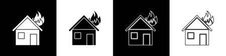 Set Fire in burning house icon isolated on black and white background. Vector Illustration