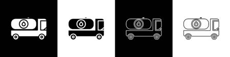 Set Fuel tanker truck icon isolated on black and white background. Gasoline tanker. Vector Illustration