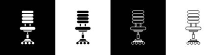 Set Office chair icon isolated on black and white background. Vector Illustration
