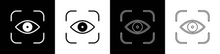 Set Eye scan icon isolated on black and white background. Scanning eye. Security check symbol. Cyber eye sign. Vector Illustration