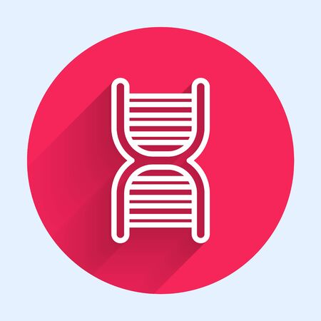 White line DNA symbol icon isolated with long shadow. Red circle button. Vector Illustration