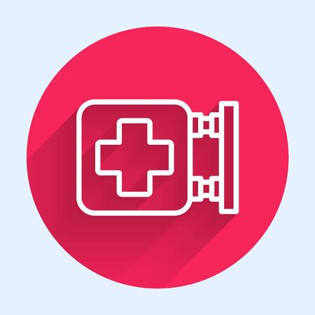 White line Hospital signboard icon isolated with long shadow. Red circle button. Vector Illustration